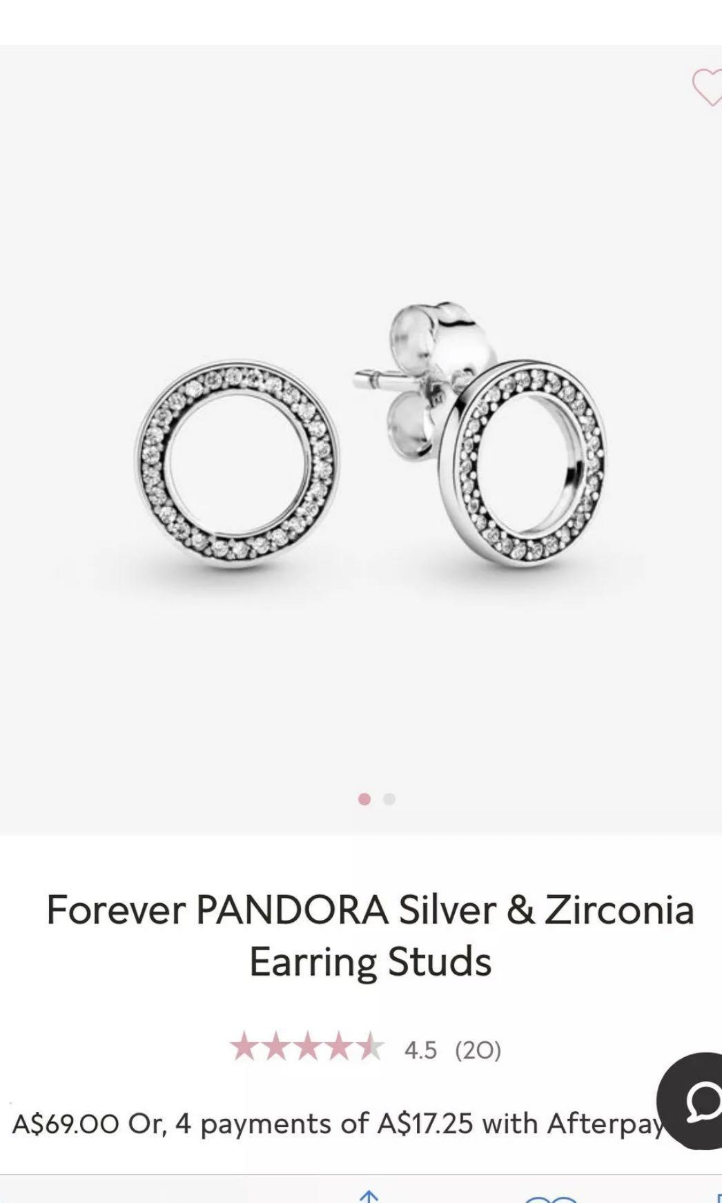 Pandora - forever pandora silver & zirconia earring studs