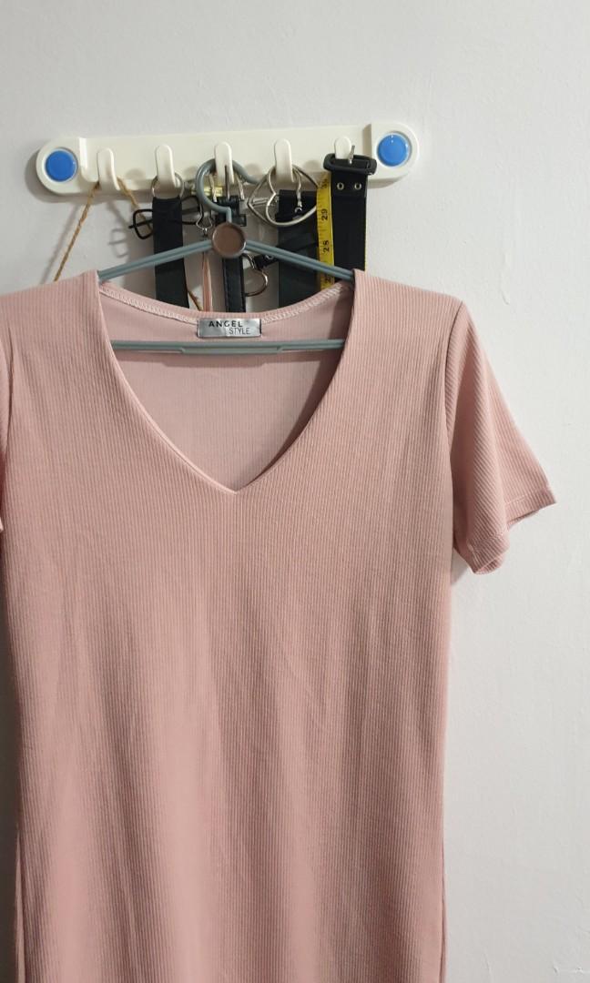 pink ribbed basic midi dress