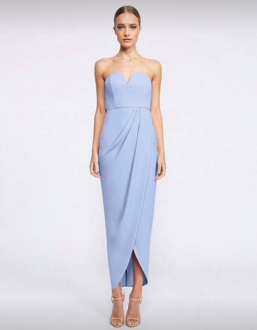 SHONA JOY U BUSTIER DRAPED DRESS  CORNFLOWER BLUE, SIZE 8