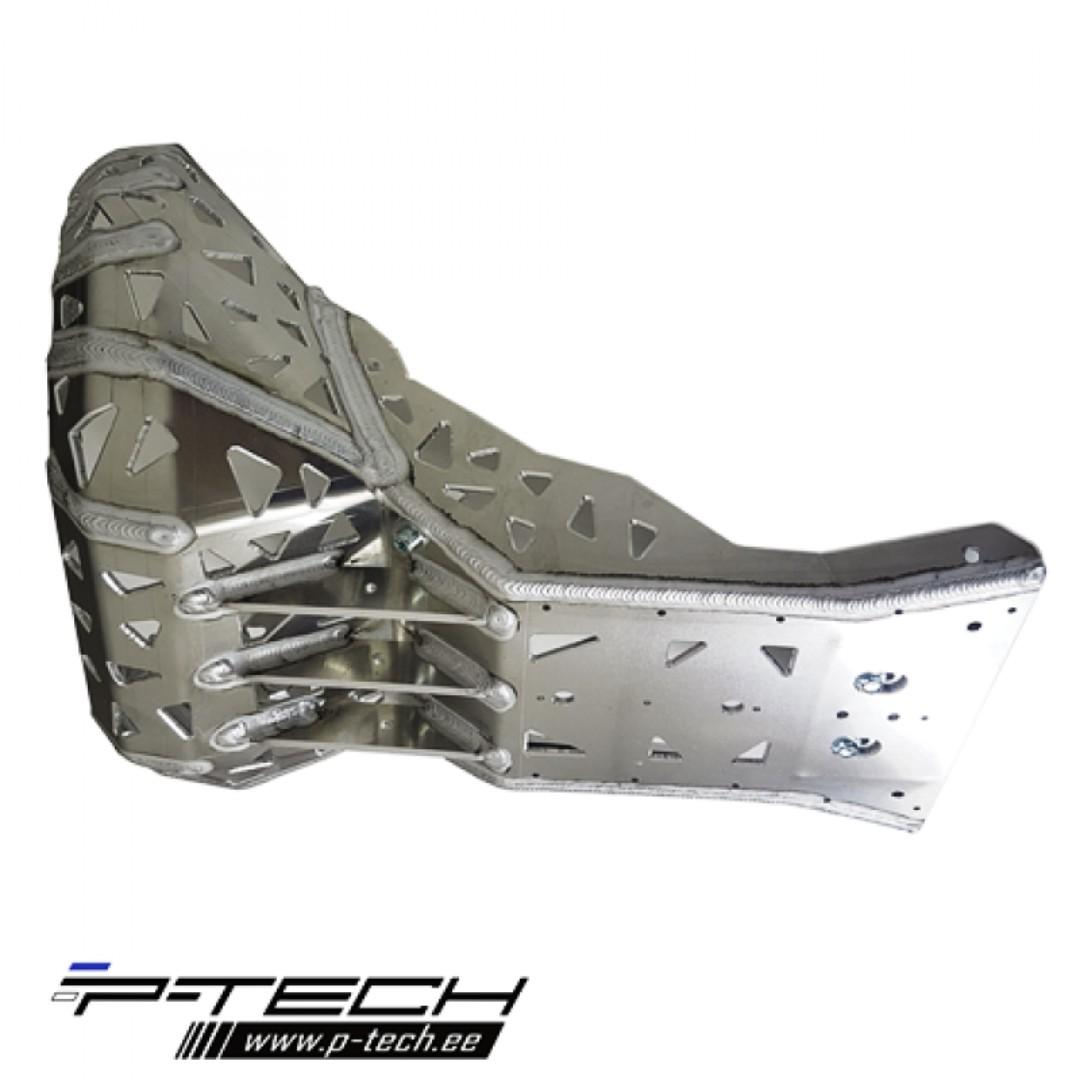 Skid plate with exhaust pipe guard for KTM, Husaberg, Husqvarna.