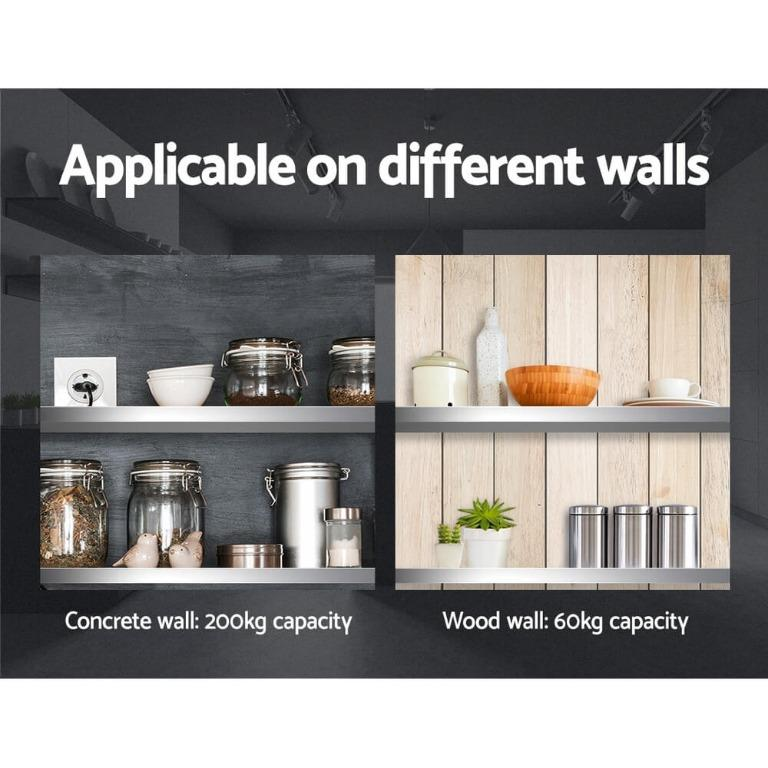 Stainless Steel Wall Shelf Kitchen Shelves Rack Mounted Display Shelving 1800mm