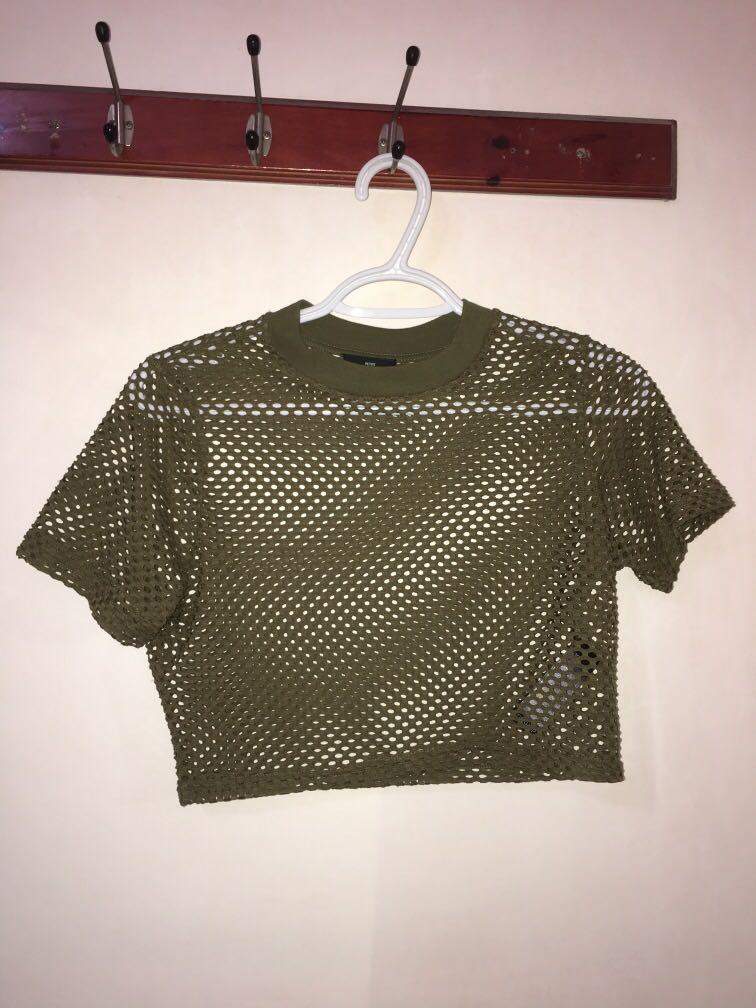 Topshop mesh cropped short sleeve shirt - khaki (size UK 10 in Topshop petite, fits AU 8)