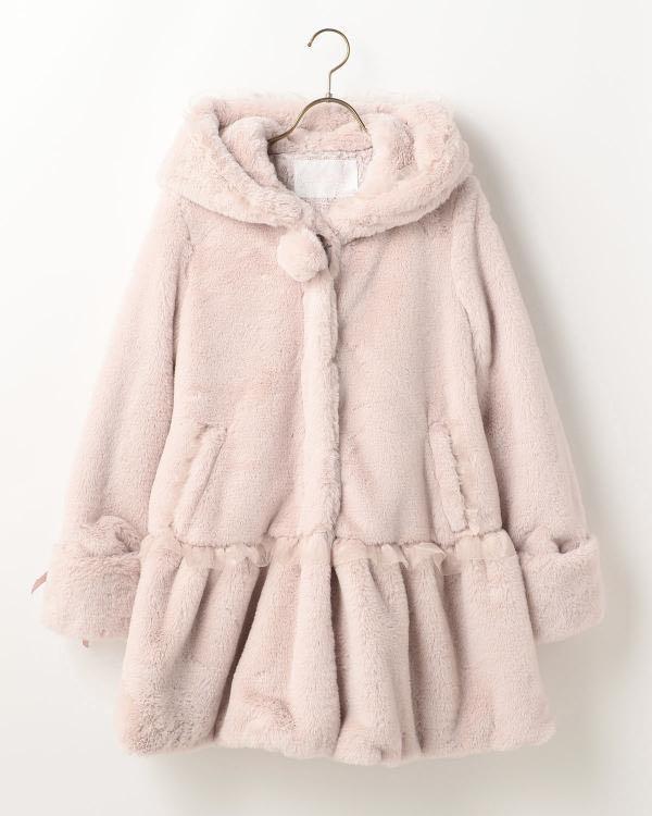 Winter Jacket LIZ LISA JAPAN 100% real pink fur long jacket outer