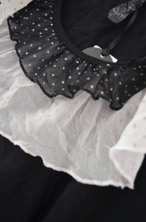 Woman Black Top with Black + White Laces and Glitter - Size 12