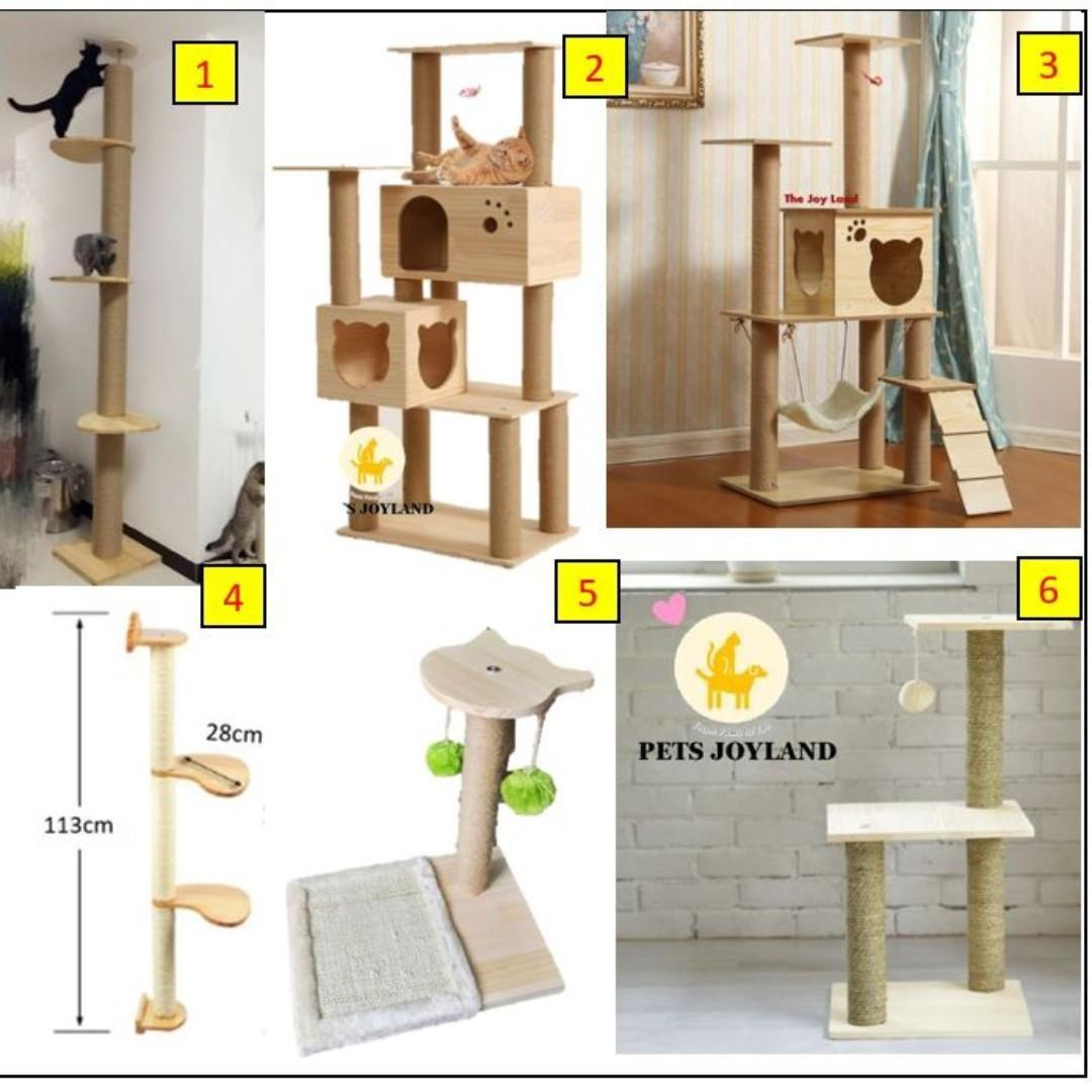 Wooden cat condo ceiling pole scratching tree