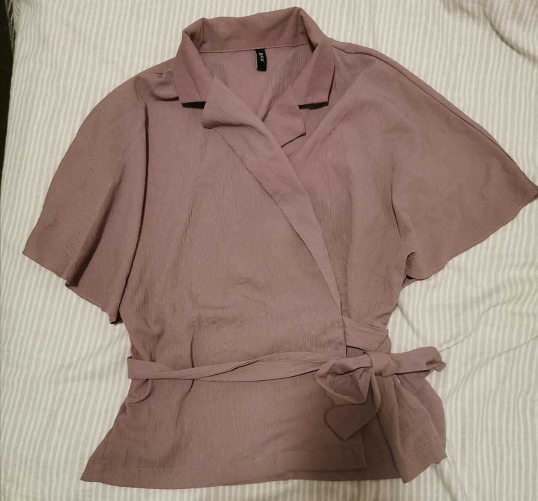 Wrap front top and flowy shorts- purple/dusty-pink set