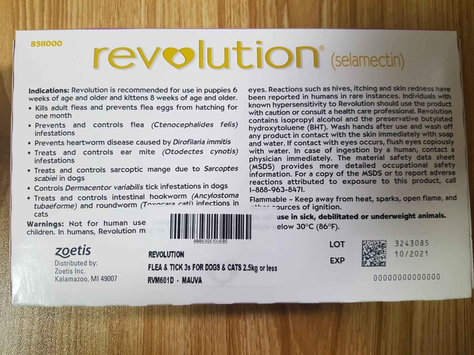 WTS Unopen Revolution Flea & Tick Prevention under 2.5kg