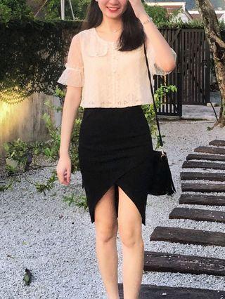 Asymmetrical Hemline Bodycon Mini Skirt