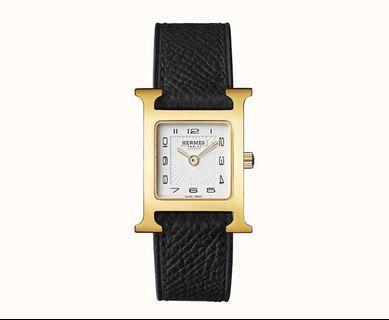 預購12/2到貨 歐洲代購 Hermès 愛馬仕 H手錶 皮帶手錶 黑金色