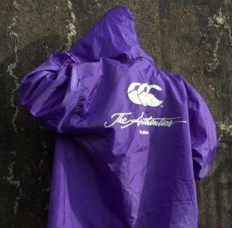 Canterbury 古著紫色橄欖球寬版連帽教練外套 防風外套 壓扣