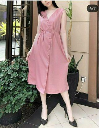 Ec CELLIA DRESS PINK l atasan fashion baju dress wanita