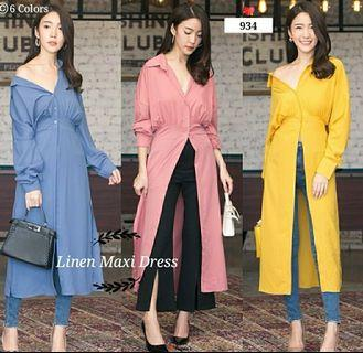 Ec Linen Maxi Dress l atasan fashion baju dress wanita