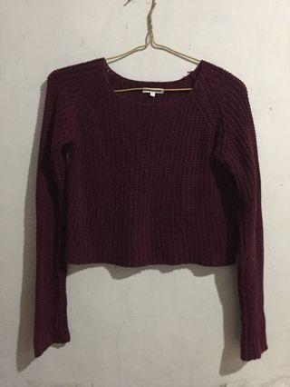 Sweater rajut maroon colorbox
