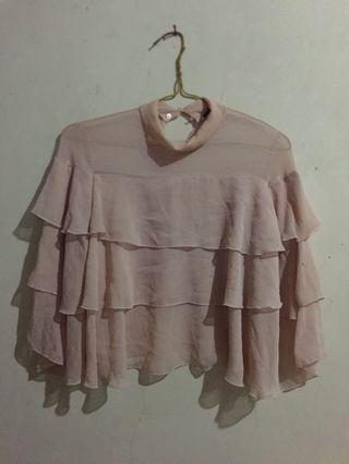 Blouse ruffle baby pink zara / blouse nude zara