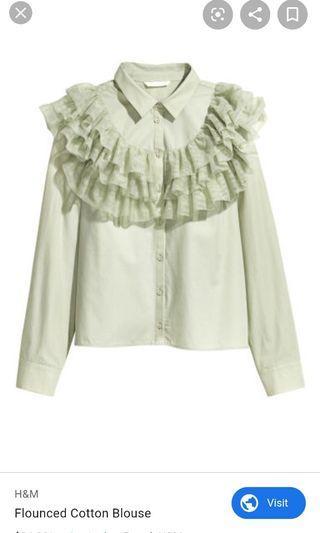Preloved H&m flounced cotton blouse