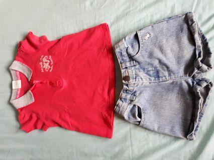 Cute Hush Puppies pink top and Poney jeans shorts