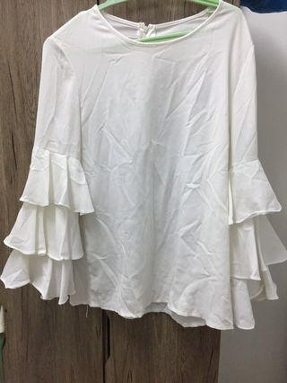 White Blouse White Top Frills blouse