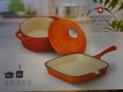 台南東區可面交【瑞士MONCROSS】法式經典鑄鐵雙鍋組(湯鍋+牛排鍋)