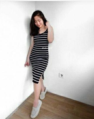 Ec Dress Salur Rajut White l atasan fashion baju dress tanktop wanita