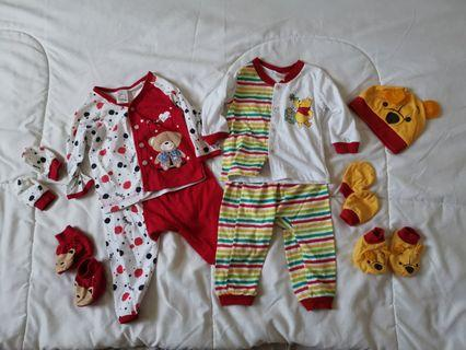 Bundle Newborn sleep suit set with mittens and booties