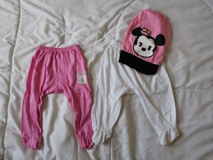Bundle long pants with foot FOC Minnie mouse hat