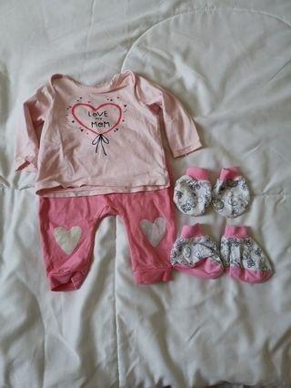 Pink Long sleeve and long pants FOC mittten and booties