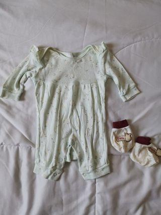 Pastel mint green floral sleep suit FOC booties