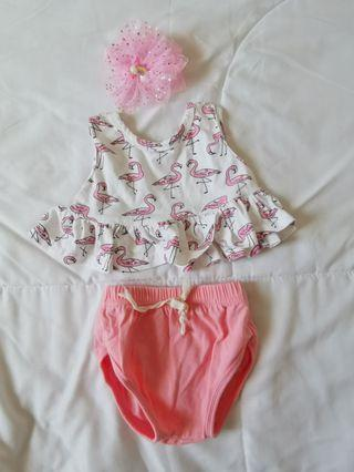 Pink flamingo crop top and bottoms set FOC headband