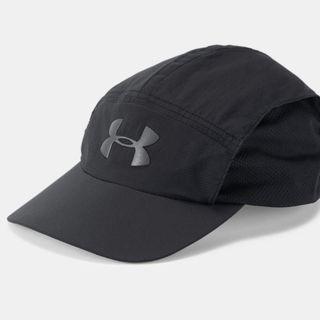 """Men's UA Run Packable Cap"" Under Armour UA 全新 黑色 網眼拼接 可調節 棒球帽 鴨舌帽 老帽 運動帽 球帽 帽子 1305013"