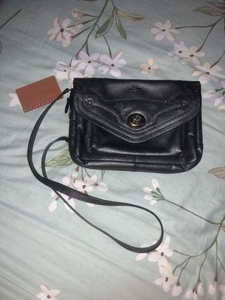 AUTHENTIC / ORIGINAL Coach Crossbody Bag - Metallic Crossgrain Leather