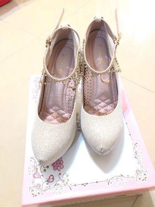 Ann's手工婚鞋銀金色