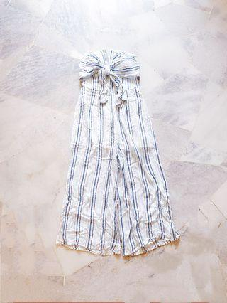 White Tube Stripes Jumpsuit / Romper #Lelong80