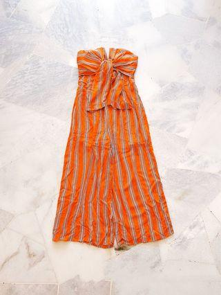 Peach Orange Tube Stripes Jumpsuit / Romper (Ready stocks sold out, pre order available)