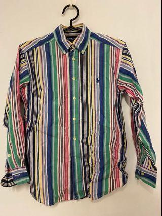 Polo ralph lauren條紋襯衫 M(10-12)