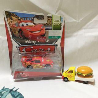 CARS迪士尼汽車總動員 基礎小車閃電麥昆 贈多美卡漢堡車