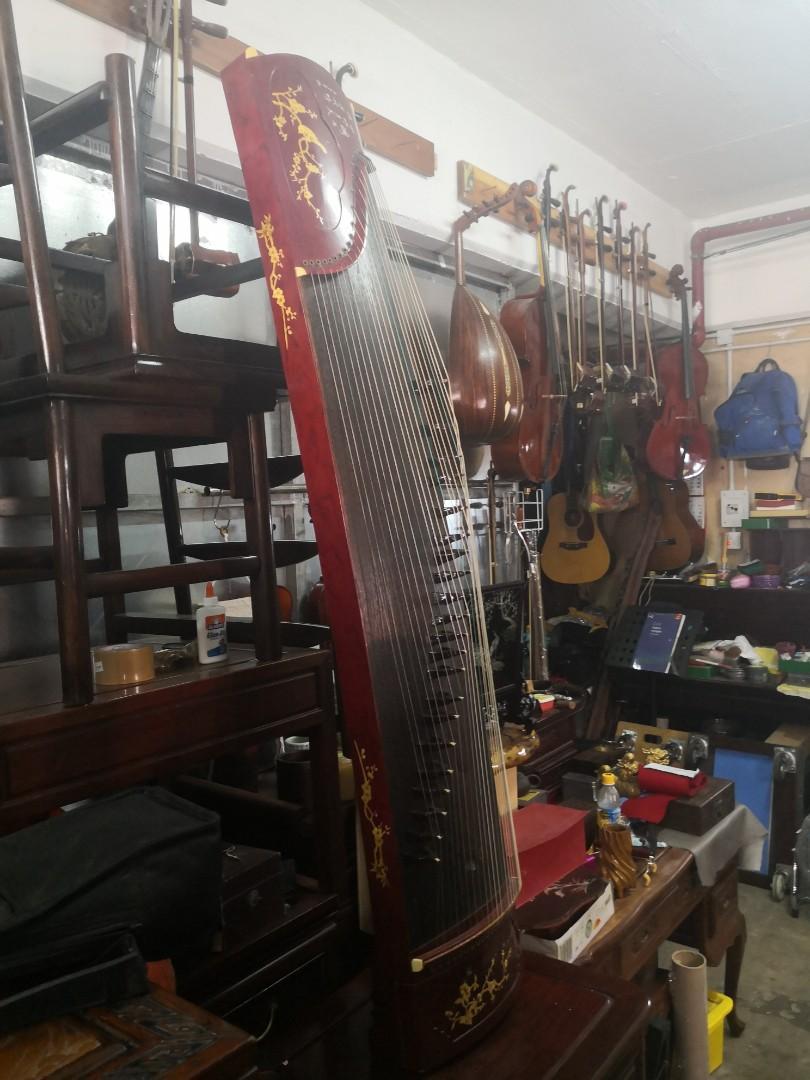 新淨二手164cm紅木標準大古箏一件配包