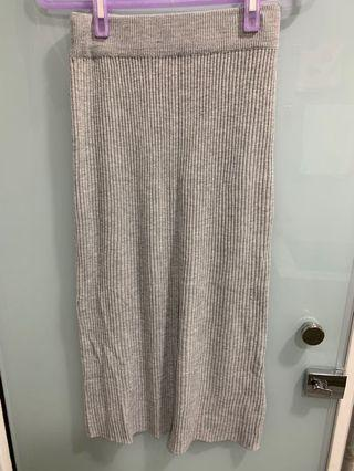 直紋合身顯瘦小開岔 針織包臀裙 中長裙灰色 可搭大學t 帽t