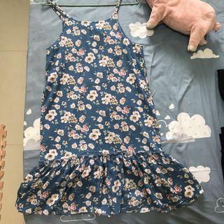 藍碎碎花背心洋裝