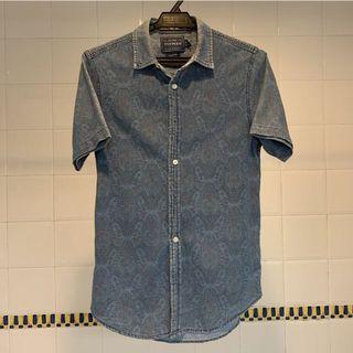 Topman Patterned Denim Shirt
