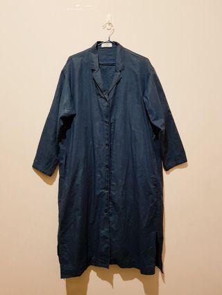 長版棉麻襯衫外套