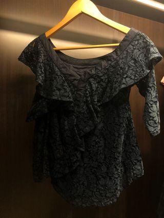 Saturday club lace one side off shoulder top