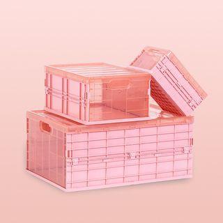 折疊收納箱 粉色 藍色 透明 中號 兒童玩具衣物髮飾零食內衣收納