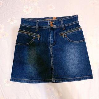 深藍色 牛仔短裙 材質超好 牛仔裙