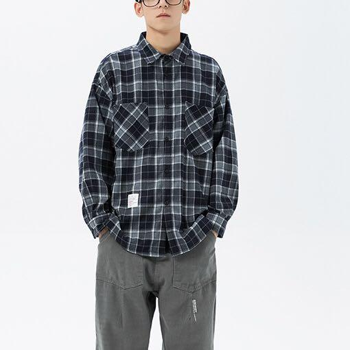 🇺🇸🇯🇵 Size: M-2XL 歐美日系男女裝情侶百搭復古格仔長袖恤衫