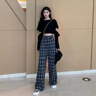 Checkered Pants Green