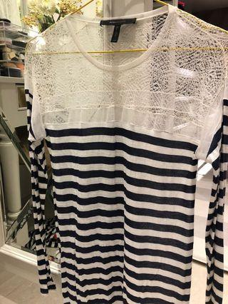 Bcbg maxazria long sleeves stripes lace loose