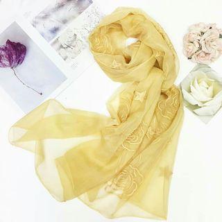 玫瑰圍巾條紋花朵圍巾絲巾批肩