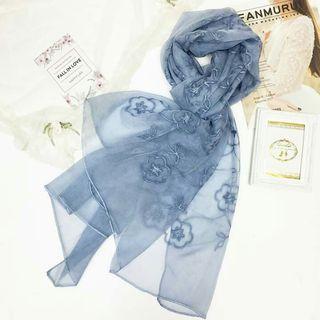 圍巾條紋花朵圍巾絲巾批肩
