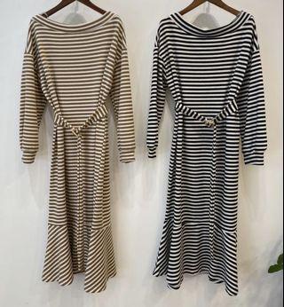 橫條紋方釦洋裝