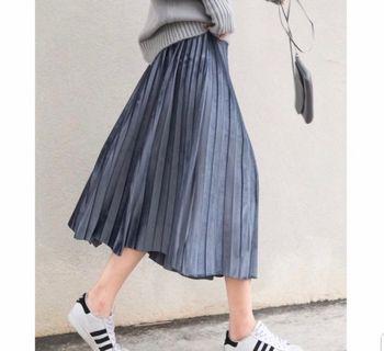 韓版 質感灰藍色絲絨百褶裙